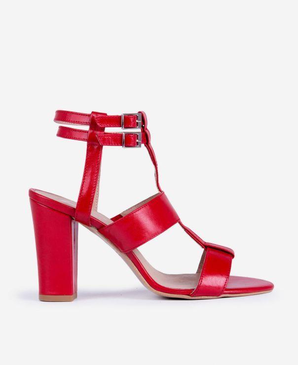 Czerwone sandałki na słupku  2851-B165